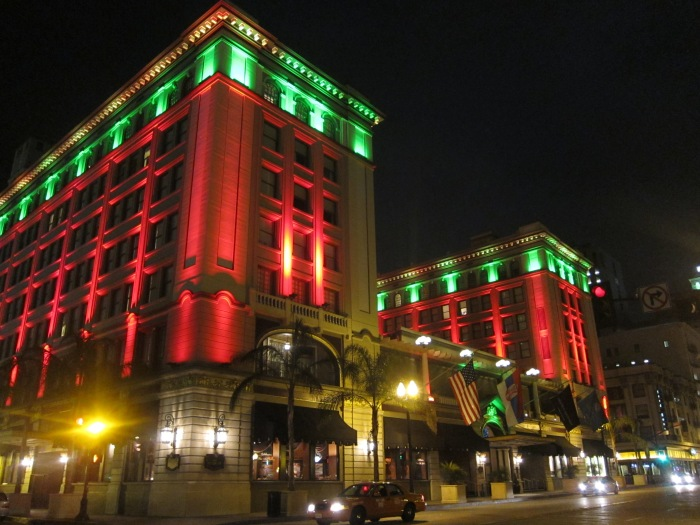 The US Grant Hotel with Christmas lighting.