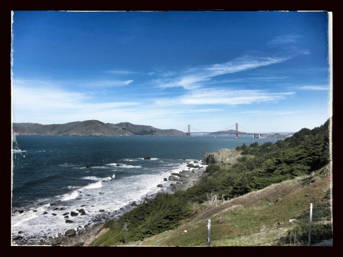 The view of the Golden Gate Bridge from the Lands End Trail