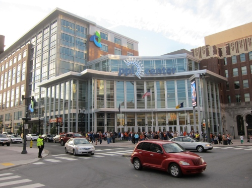 The PPL Center at the corner of 7th and Hamilton