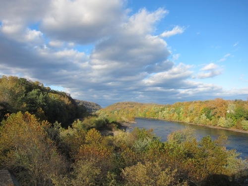 Fall Colors along the Delaware River. View North from Easton, PA.