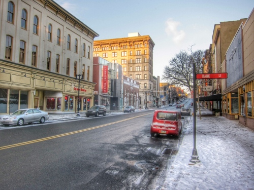 Winter in Easton, PA. Morning on Northampton Street.