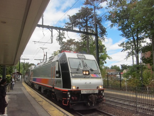 New Jersey Transit train pulls into Upper Montclair, NJ