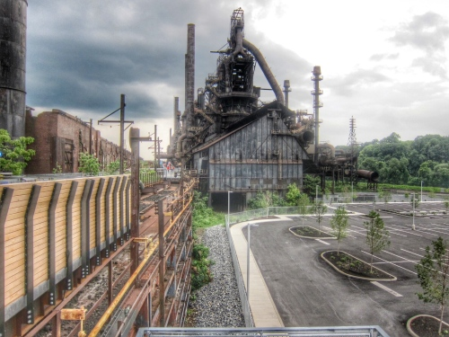 View of the Blast Furnaces from the East End  of the HMT