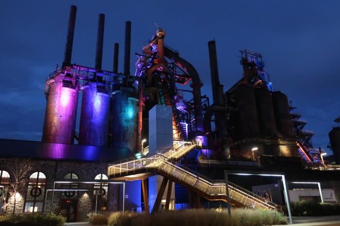 Steel Stacks Stairway at Night.jpg